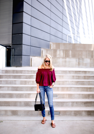 krystal schlegel blogger sunglasses shoes off the shoulder burgundy top skinny jeans sandals