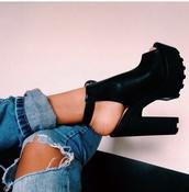 shoes,black heels,creepers high heels,jeans,black,chunky heel,boot,ankle boots,high heel,peep toe,booties,white boot,cut out boot,booties black