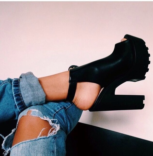 shoes black heels creepers high heels jeans black chunky heel boot ankle boots high heel peep toe booties white boot cut out boot booties black