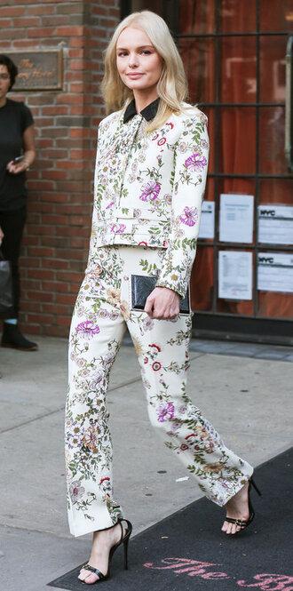 pants suit blazer kate bosworth sandals floral