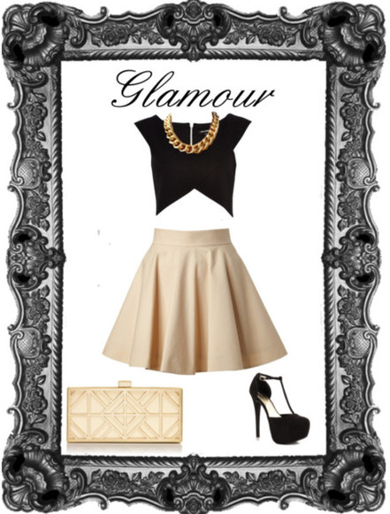 original black classy skirt shirt pretty crop tops cream puffy high heels gold clutch chain gold chains outfit gorgeous glamour pin up 1960s vintage dancing