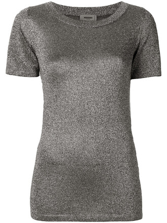 t-shirt shirt metallic women grey top