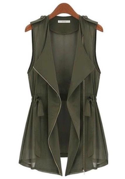 top vest army green jacket jacket dark green vest
