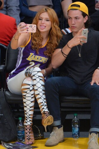 shoes sandals gladiators top bella thorne lace up lakers