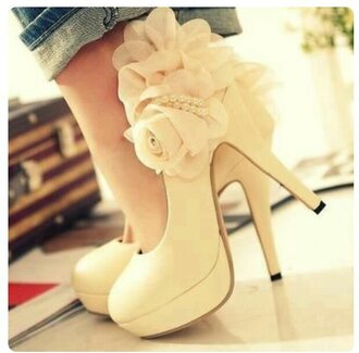 shoes heels cute white shoes flowers roses long heels tall shoes pumps platform pumps round toe