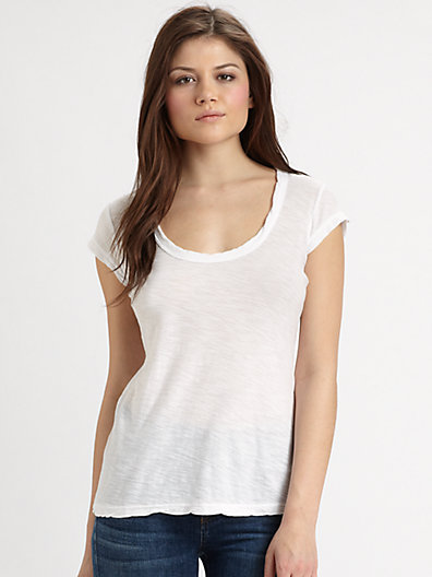 James Perse - Slub Knit Cap-Sleeve Top - Saks.com