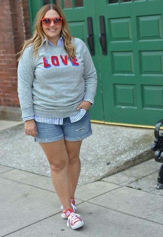 mommyinheels blogger sweater shorts shoes sunglasses