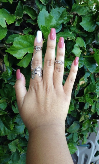jewels ring chain ring chains midi knuckle ring knuckle ring silver midi ring silver midi rings double ring double rings