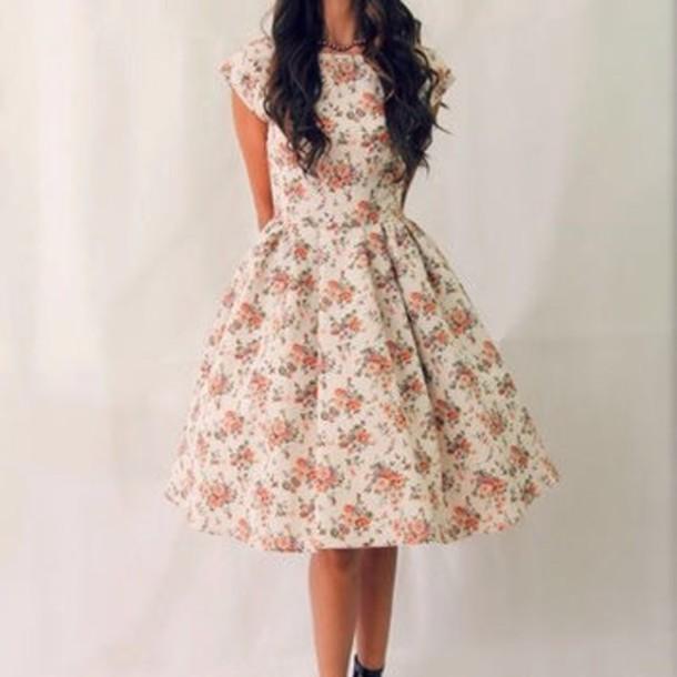 dress floral dress flowers tea length dress tea capped sleeves vintage dress vintage