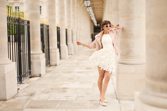 frassy blogger white dress halter dress pink sunglasses pink jacket