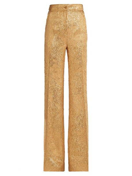 ROCHAS Floral-brocade flared-leg silk-blend trousers in gold