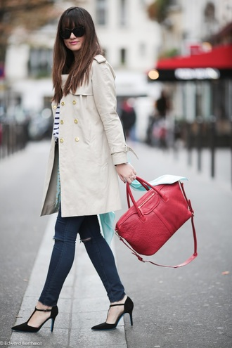 meet me in paree blogger coat jeans top shoes bag
