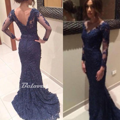 Navy blue lace long sleeves mermaid evening gown · beloves · online store powered by storenvy