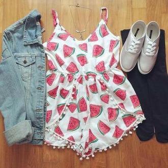 romper watermelon print dress spring weheartit