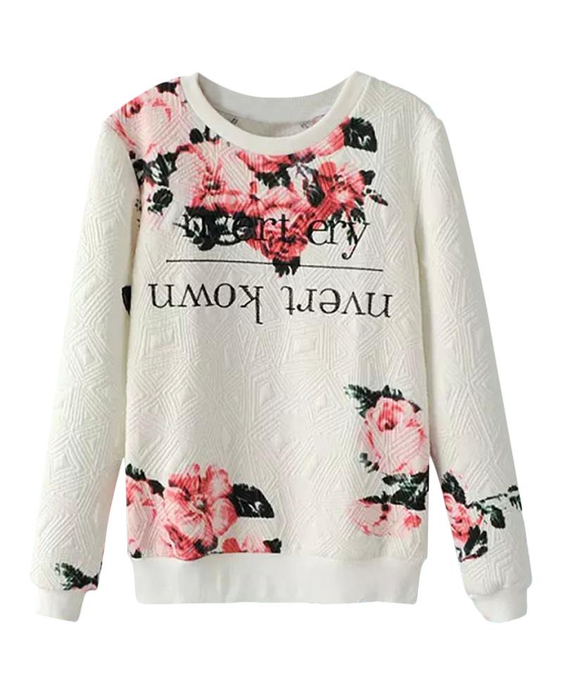 Floral print embroidered jacquard sweatshirt