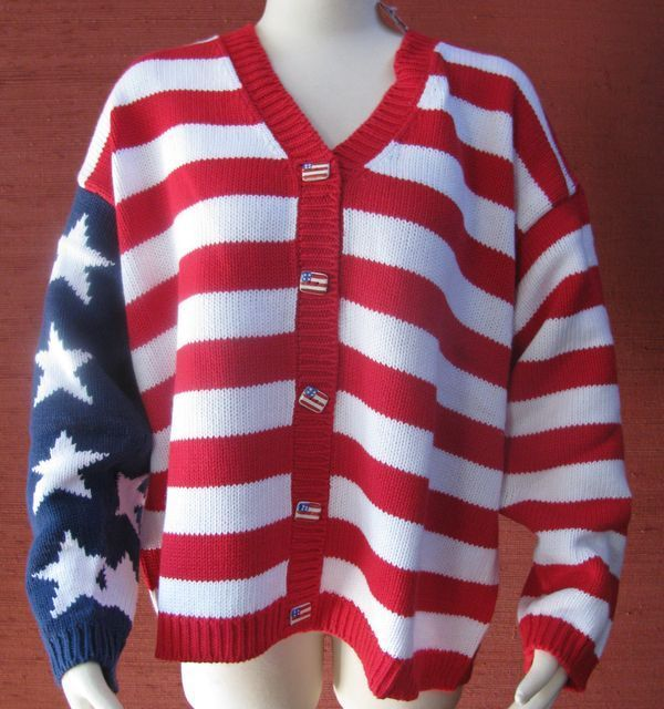 Nwt storybook knit womens size 1x patriotic american flag sweater hsn new stars