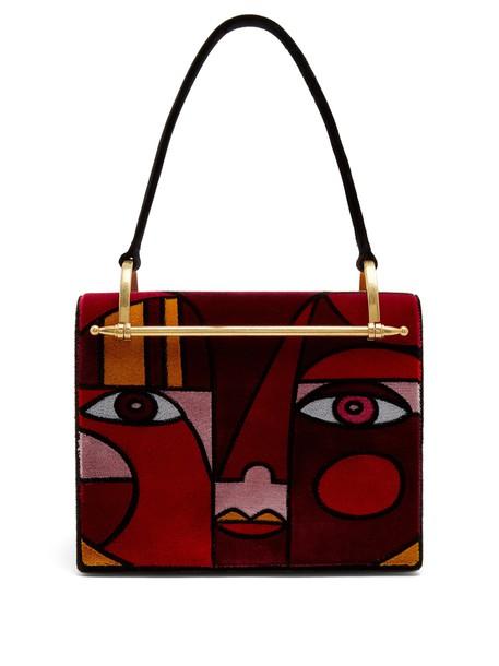 Prada patchwork bag print burgundy