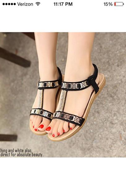 shoes black & gold sandals