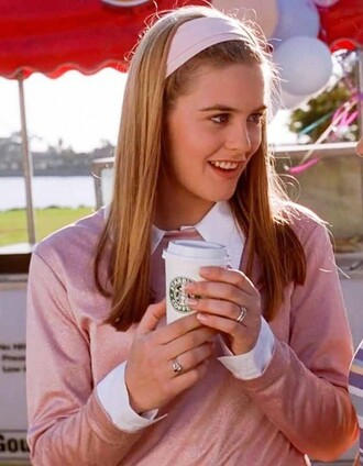 sweater clueless cher horowitz cher horowitz pink old pink dusky pink antique pink vintage retro 90s style 1990 1995 movie film cult headband top shirt rosy rose blonde hair shiny shimmering glance gloss mean girls grunge pale grunge pastel grunge bambi grunge beautiful stylish chic style baby pink girly girl girlish classy jumper pullover pink sweater girly pink outfit alicia silverstone preppy