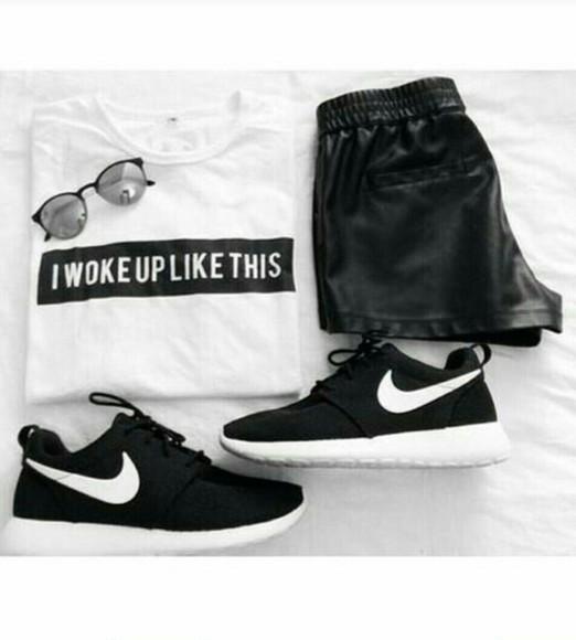 sunglasses pants leather shorts leatherpants iwokeuplikethis nike running shoes