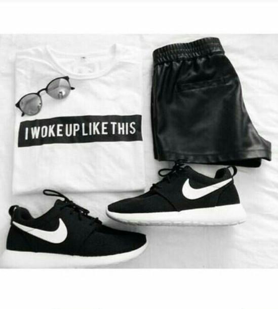 pants leather shorts leather pants i woke up like this sunglasses nike running shoes
