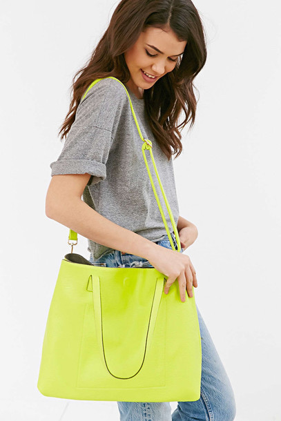bag tote bag leather lime colorful reversible