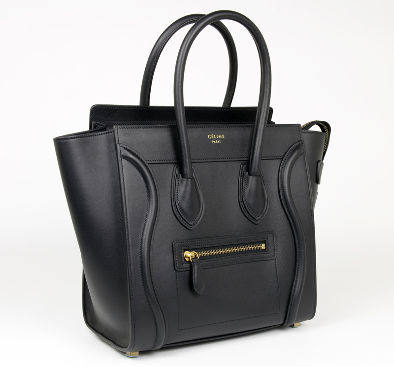 new authentic celine micro luggage black smooth leather tote ... 94b7ffb650e96