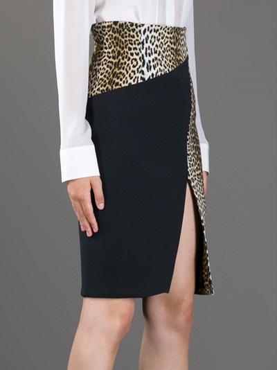 Emanuel Ungaro Leopard Print Paneled Skirt - Julian Fashion - Farfetch.com