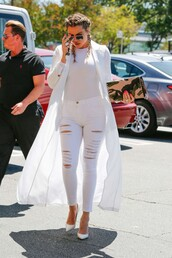 all white everything,ripped jeans,khloe kardashian,spring outfits,coat,duster coat,kardashians,bodysuit,white,braid,white jeans,keeping up with the kardashians,white top,white coat