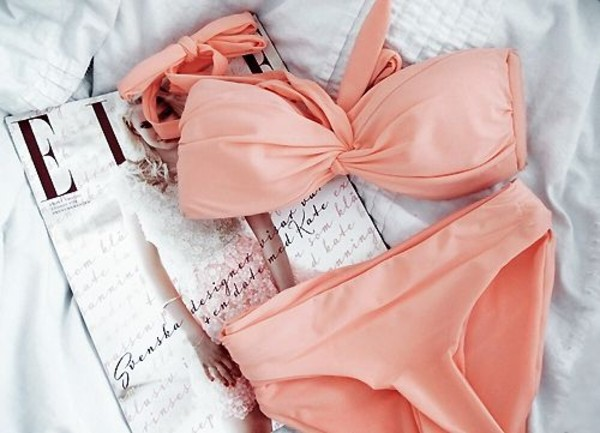 swimwear bikini swimwear pink peach