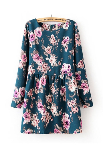 Vintage Flower Print Frilly Dress [FXBI00472] - PersunMall.com