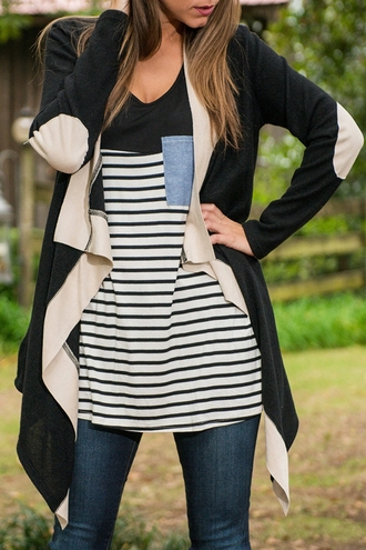 cardigan black white nude beige fashion style warm fall outfits cozy trendy winter outfits colorblock long cardigan clothes