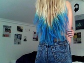 hat,dye,blue,hair bow,dip dyed