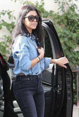 shirt kourtney kardashian denim denim shirt fall outfits