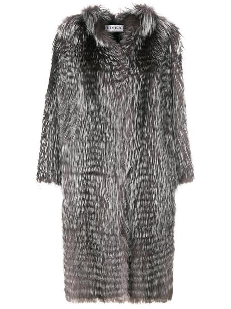 Liska coat fur fox women midi grey