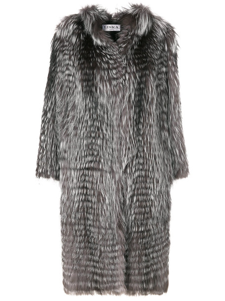 coat fur fox women midi grey