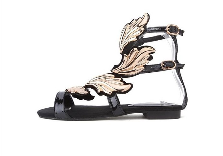 2014 New summer GZ ladies  sandals flat women shoes sexy black Wedding Wedges Shoes women gold leaf flame wings shoes-in Sandals from Shoes on Aliexpress.com
