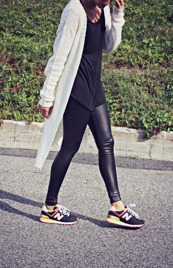 quality rivets blogger cardigan top new balance leather pants