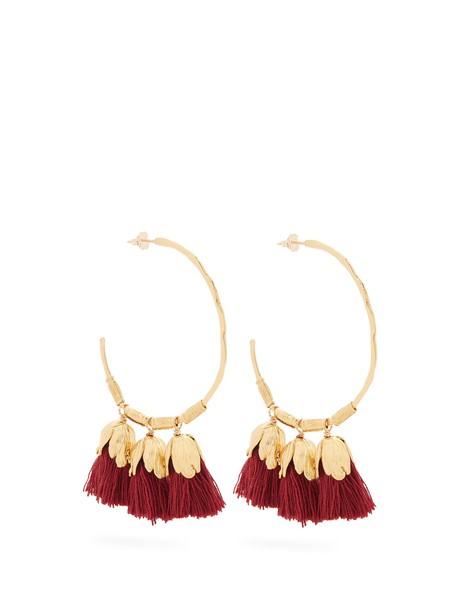 ELISE TSIKIS tassel earrings hoop earrings burgundy jewels