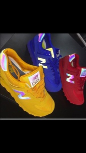 shoes,new balance,red,yellow,blue,casual,solid colored,one coloured shoes,reflective,reflective shoes,red shoes,blue shoes,yellow shoes,all red,all yellow everything,all blue,all red wishlist,new balance sneakers,new balance 574,iridescent,holographic,sneakers,colorful sneakers,customized new balance. holographic hologram new balance,customized,suede sneakers,new balance 547,tumblr,tumblr outfit,tumblr girl,tumblr clothes,tumblr shirt,new years resolution,help need these shoes !,sports shoes,primary colors,glow in the dark,new balance 574 yellow grey,rainbow