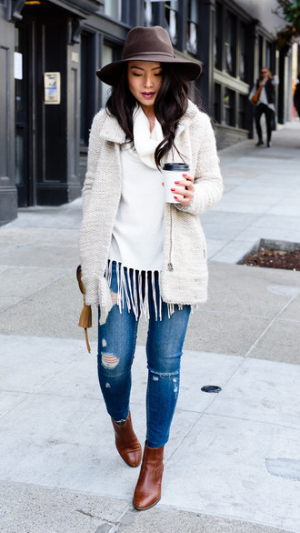 the fancy pants report blogger jacket sweater jeans hat bag