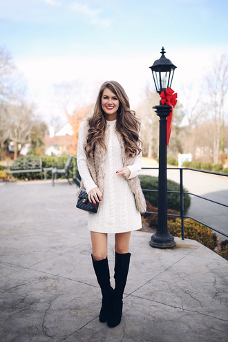 southern curls and pearls blogger shoes sweater dress jacket make-up faux fur vest chanel bag sweater dress boots winter outfits