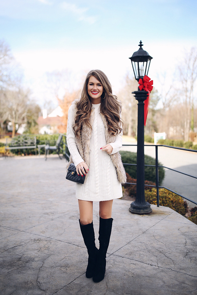southern curls and pearls blogger shoes sweater dress jacket make-up faux fur vest chanel bag sweater dress boots winter outfits tumblr knit knitwear knitted dress vest fur vest black boots