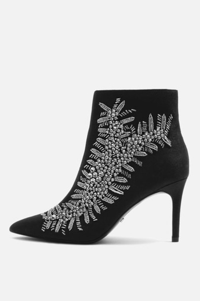 high embellished ankle boots black shoes
