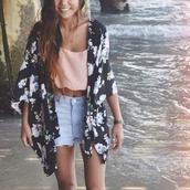 denim shorts,floral kimono,kimono,crop tops,summer outfits,coachella,shirt,jacket,cardigan,black,flowers,floral,blue,blue flowers,white flowers,long kimono,top