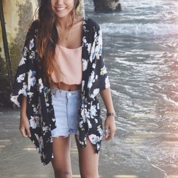 denim shorts floral kimono kimono crop tops summer outfits coachella cardigan black flowers top