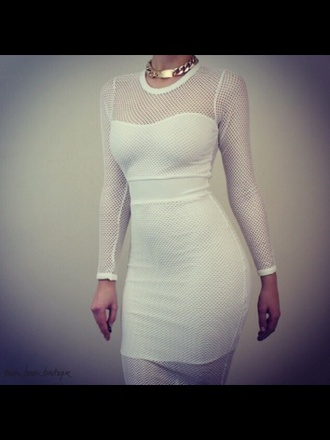 dress white dress prom dress fishnet fashion gold help plz white dress undergarment solange knowles cotton