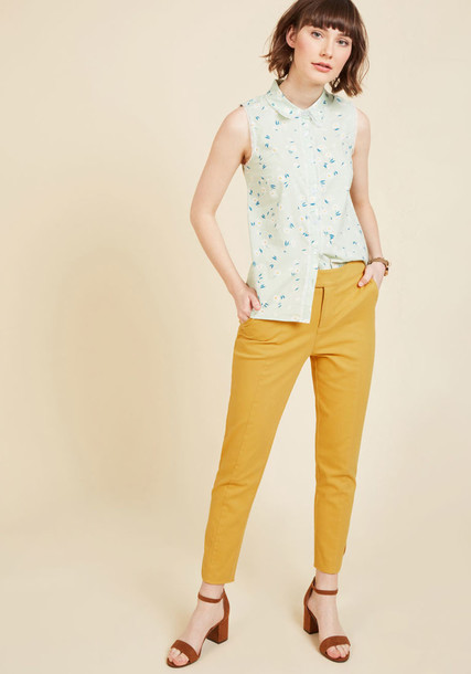 MCB1074 cropped classic perfect yellow pants