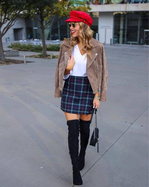 skirt tumblr mini skirt tartan plaid skirt tartan skirt boots black boots over the knee boots over the knee top jacket nude jacket hat fisherman cap