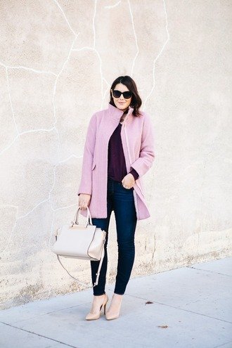 kendi everyday blogger sweater pink coat purse plum nude high heels winter outfits coat bag shoes jewels sunglasses